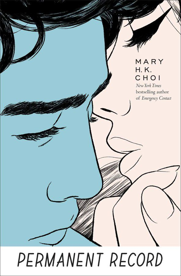 A book cover showing a young man's face and a young woman's face close to each other's.