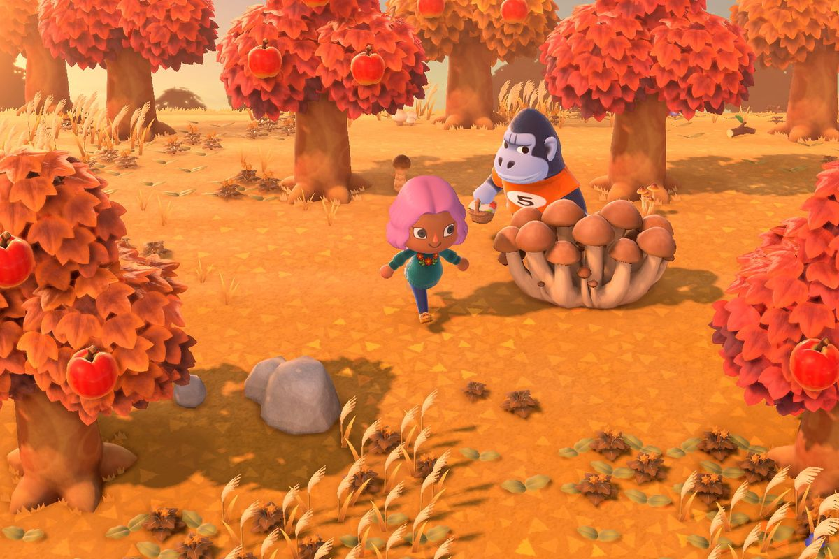 A pink-haired villager runs past a mushroom in an autumn setting in a screenshot from Animal Crossing: New Horizons