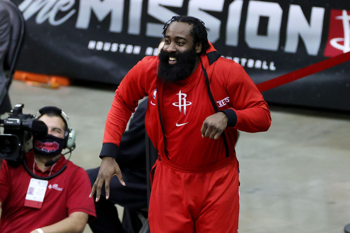James Harden of the Houston Rockets reacts during the fourth quarter of a game against the San Antonio Spurs at the Toyota Center on December 17, 2020 in Houston, Texas.