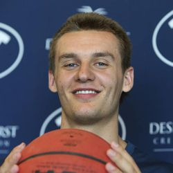 BYU basketball player and recently returned missionary Kyle Collinsworth talks to the media about returning from his Russian mission, what he's doing this summer and the upcoming 2013-14 season, July 23 in Provo.