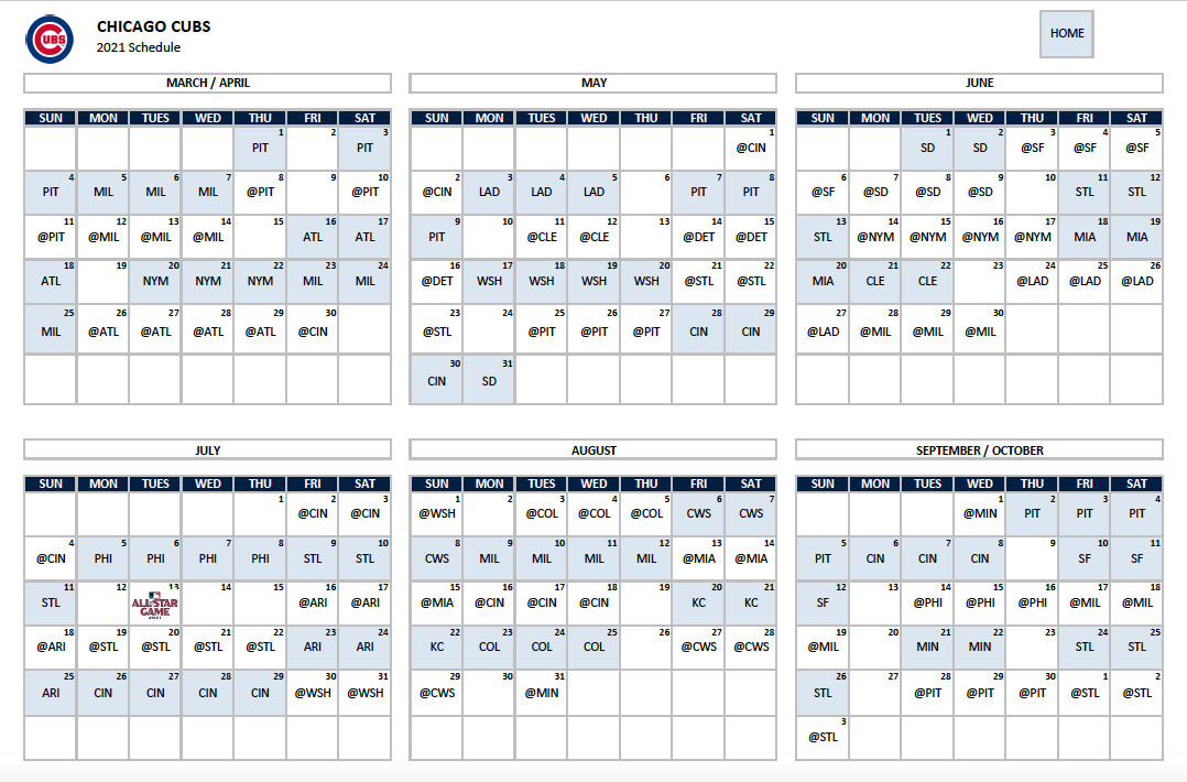 2021 Chicago Cubs Calendar Images