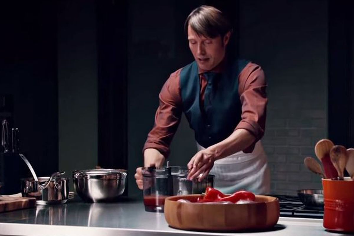 """Here's a """"genre flip"""" video that looks at NBC's delightfully creepy show  Hannibal, turning the scenes of Dr. Hannibal Lecter's  sometimes-cannibalistic food ..."""