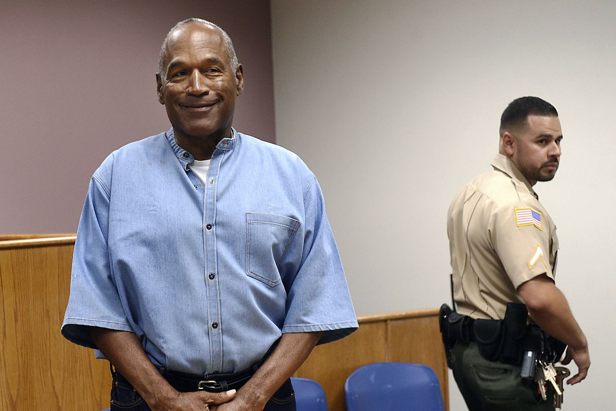 Former NFL football star O.J. Simpson enters his parole hearing at the Lovelock Correctional Center in Lovelock, Nevada, in 2017.