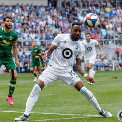 August 4, 2019 - Saint Paul, Minnesota, United States - Minnesota United defender Romain Metanire (19) heads the ball during the match against the Portland Timbers at Allianz Field.