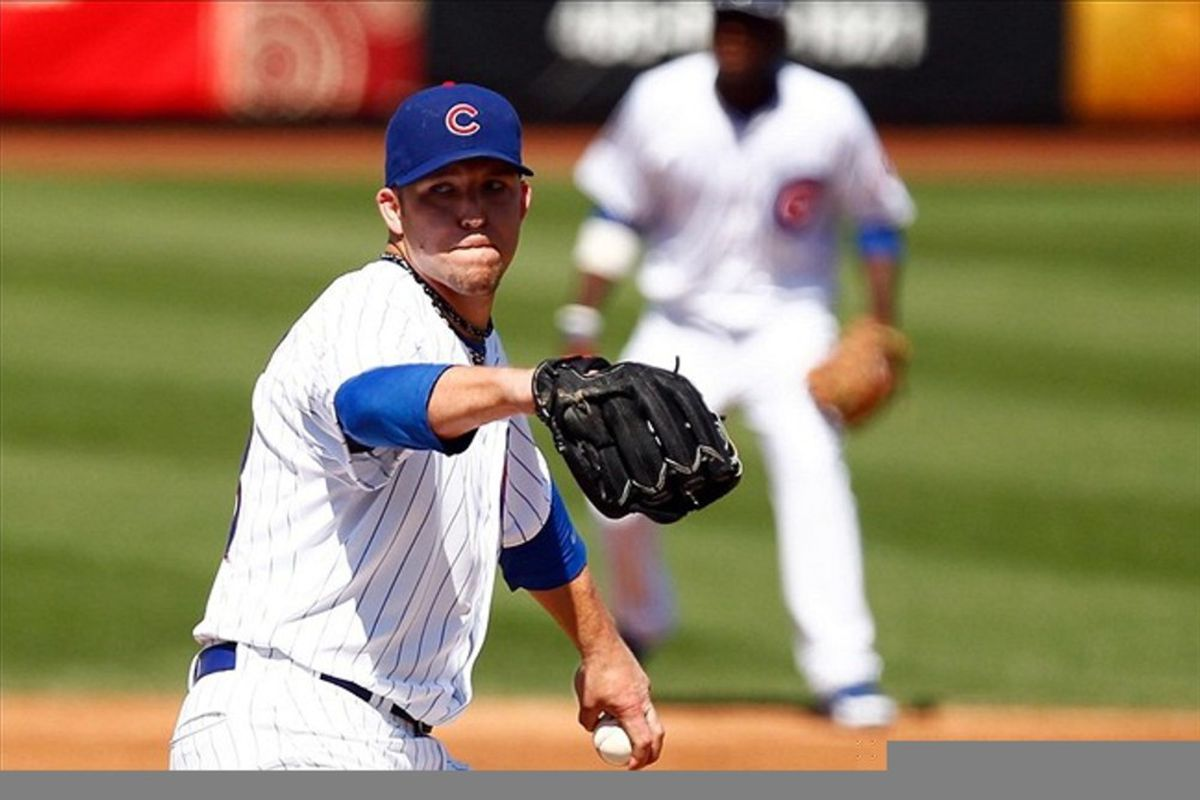 Mesa, AZ, USA; Chicago Cubs starting pitcher Paul Maholm pitches during the second inning at HoHoKam Park. Credit: Debby Wong-US PRESSWIRE