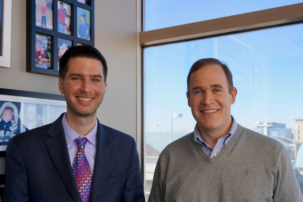 Brandon Brown (left) is CEO of The Mind Trust, an Indianapolis non-profit that  David Harris (right) previously led.