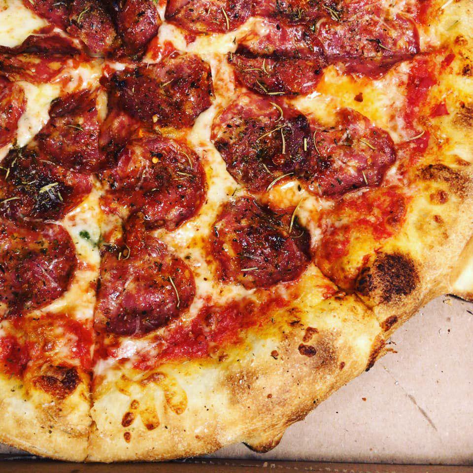 Pepperoni pizza from La Calavera Pizza in Kirkwood Atlanta.