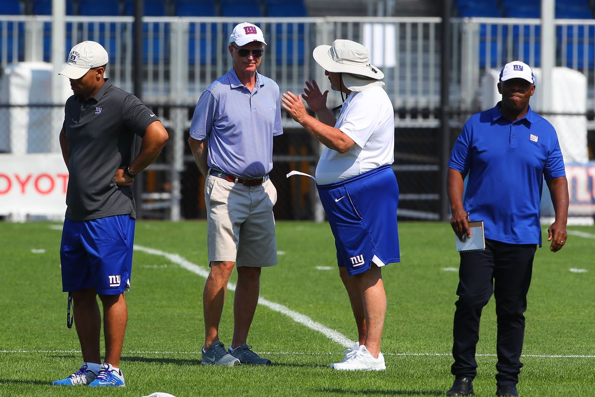 New York Giants Co-Owner John Mara and New York Giants General Manager Dave Gettleman talk during New York Giants Training Camp on August 3, 2019 at Quest Diagnostics Training Center in East Rutherford, NJ.