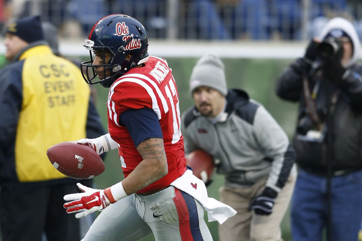 Donte Moncrief en route to his final touchdown as an Ole Miss Rebel against Georgia Tech in the Music City Bowl.