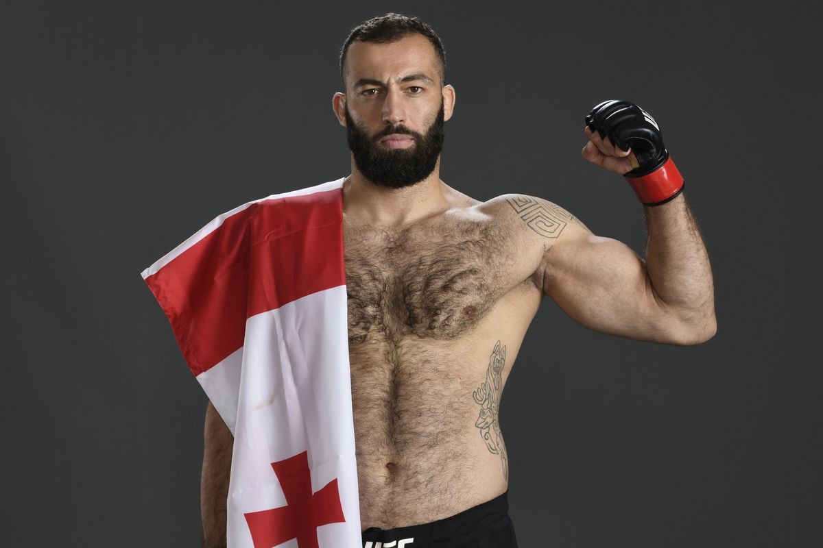 Roman Dolidze of Georgia poses for a portrait after his victory during the UFC Fight Night event inside Flash Forum on UFC Fight Island on July 19, 2020 in Yas Island, Abu Dhabi, United Arab Emirates.