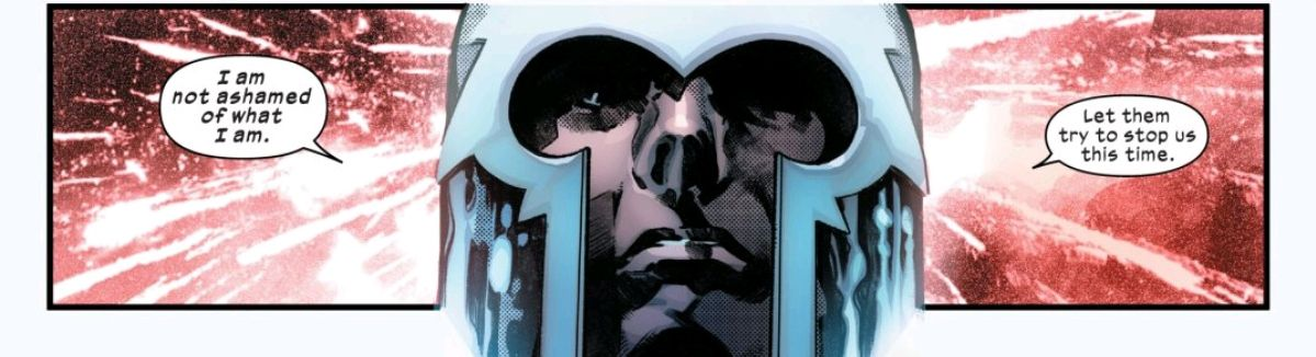 """""""I am not ashamed of what I am. Let them try to stop us this time,"""" says a helmeted Magento, silhouetted against Krakoan fireworks, in Powers of X #6, Marvel Comics."""