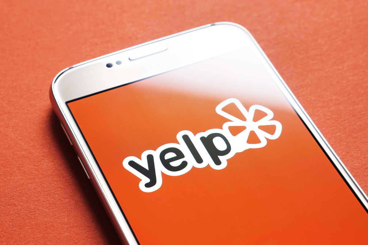 Yelp app on a phone.