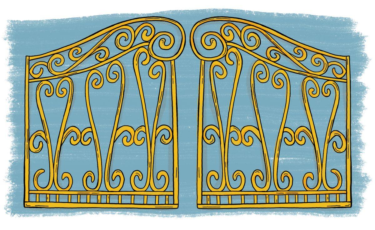 An illustration of gold gates.