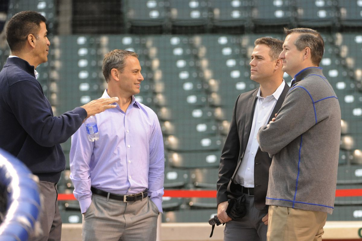 VP of player development Jason McLeod, GM Jed Hoyer, VP of baseball operations Theo Epstein and owner Tom Ricketts, from left to right
