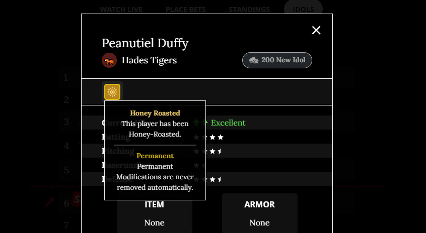A screen cover from Peanutiel Duffy's stats page shows it's honey