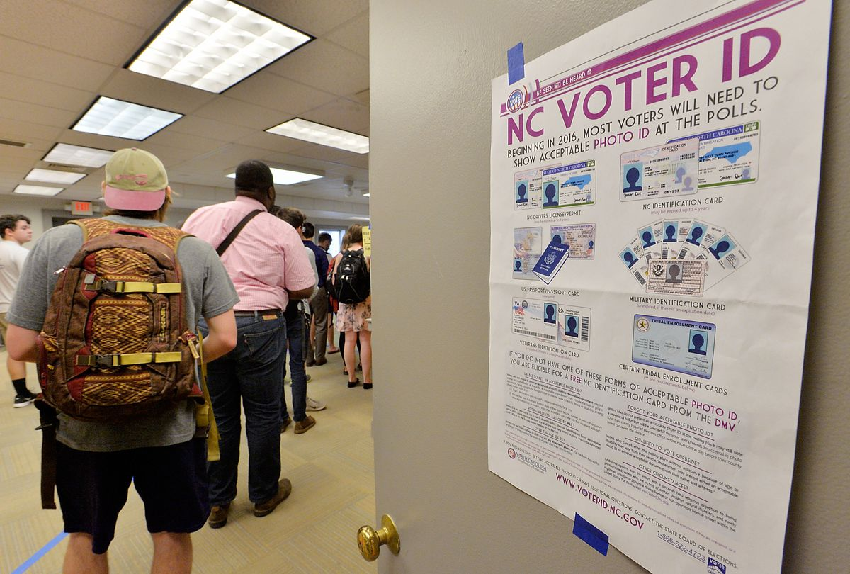 A North Carolina voter ID notice during the primaries, March 15, 2016.