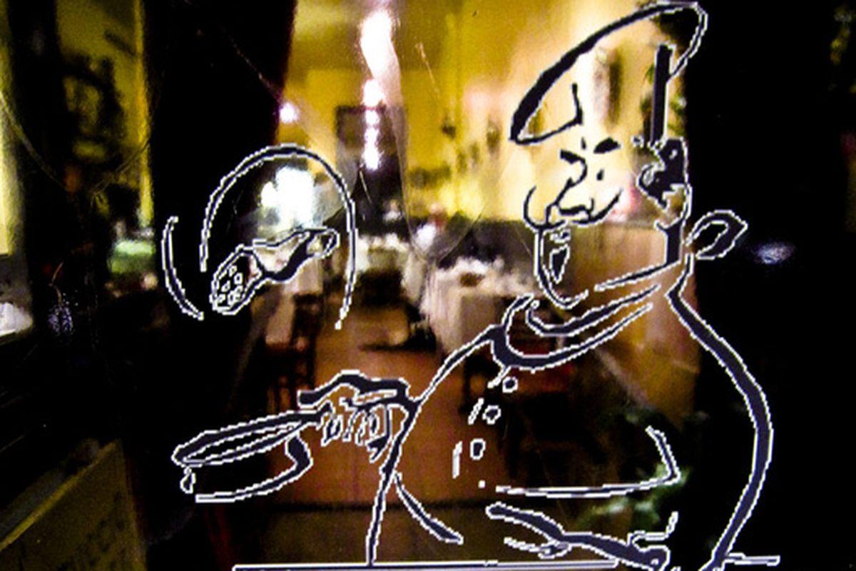 The glass chef at Il Cantuccio.