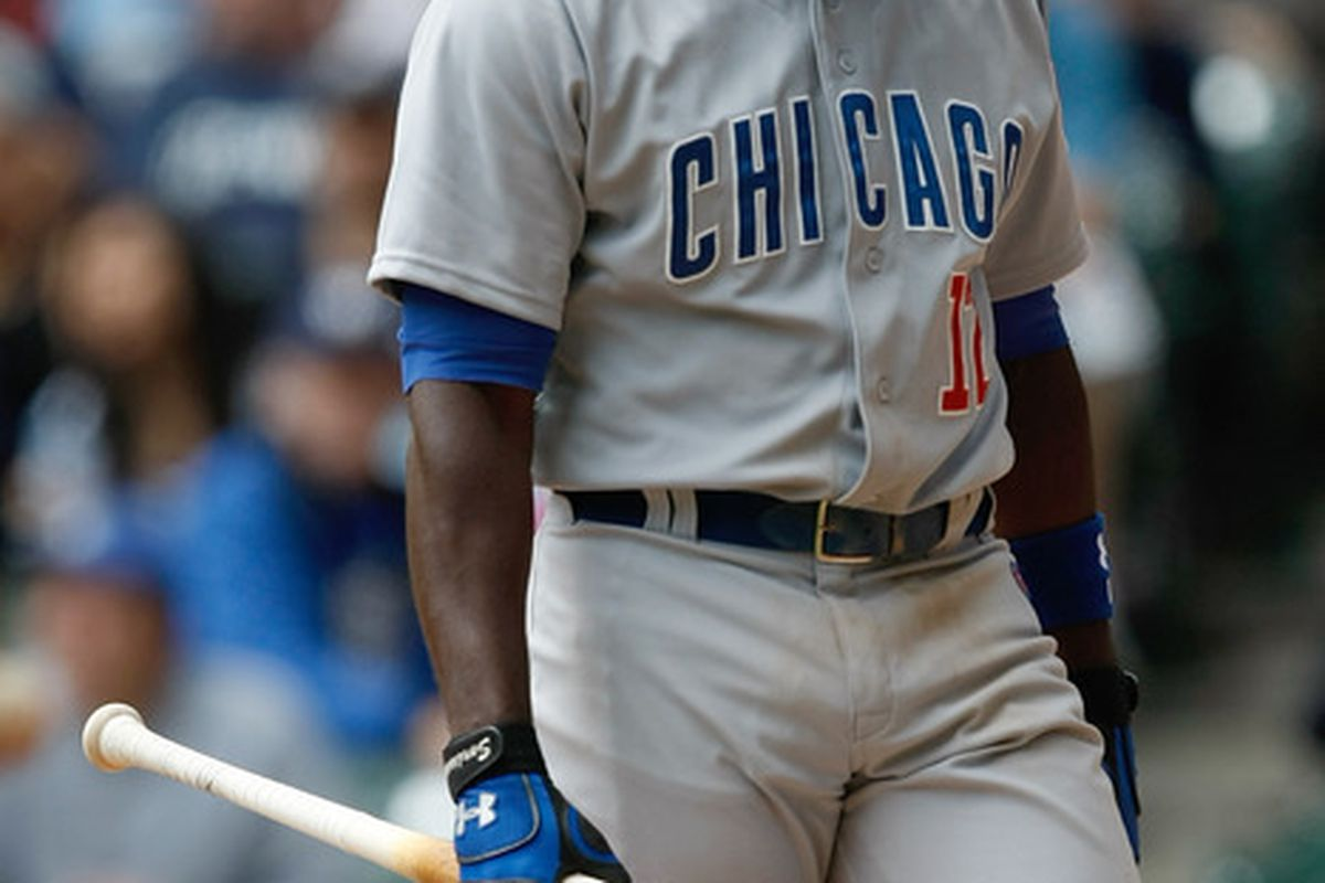 Alfonso Soriano of the Chicago Cubs walks off after striking out against the Milwaukee Brewers at Miller Park in Milwaukee, Wisconsin. (Photo by Scott Boehm/Getty Images)