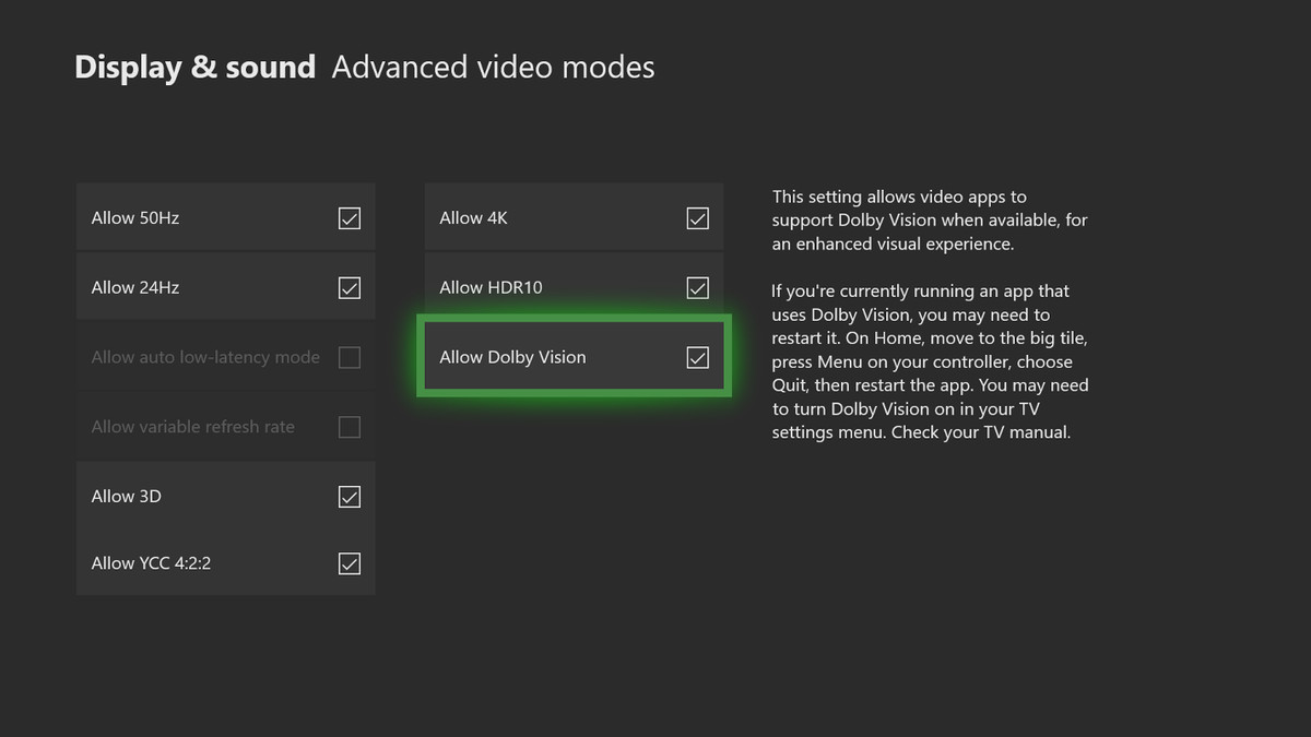 Xbox One - Dolby Vision in Advanced video modes menu