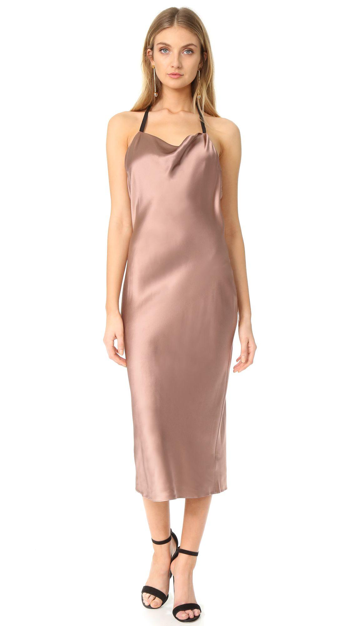a taupe silk slip dress