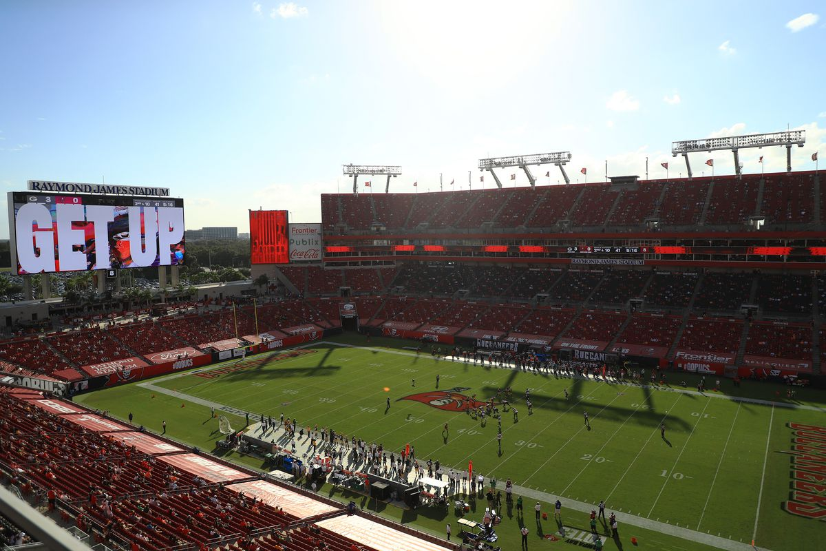 A general view at Raymond James Stadium between the Tampa Bay Buccaneers and the Green Bay Packers during the first quarter on October 18, 2020 in Tampa, Florida.
