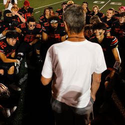 """Ogden football coach Erik Thompson, who was recently diagnosed with Lou Gehrig's disease, talks to the team after a high school football game billed as """"Erik Thompson Night"""" on Friday, Sept. 3, 2021, at Ogden High School in Ogden."""