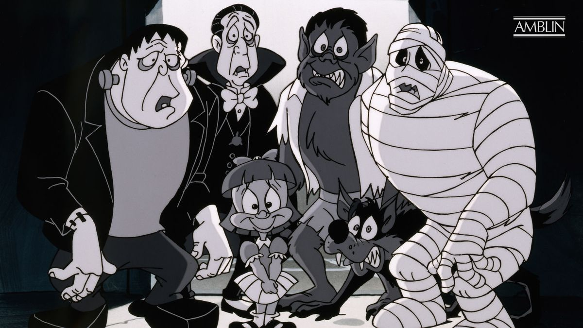 Elmyra from Tiny Toon Adventures poses with a group of fearful-looking monsters