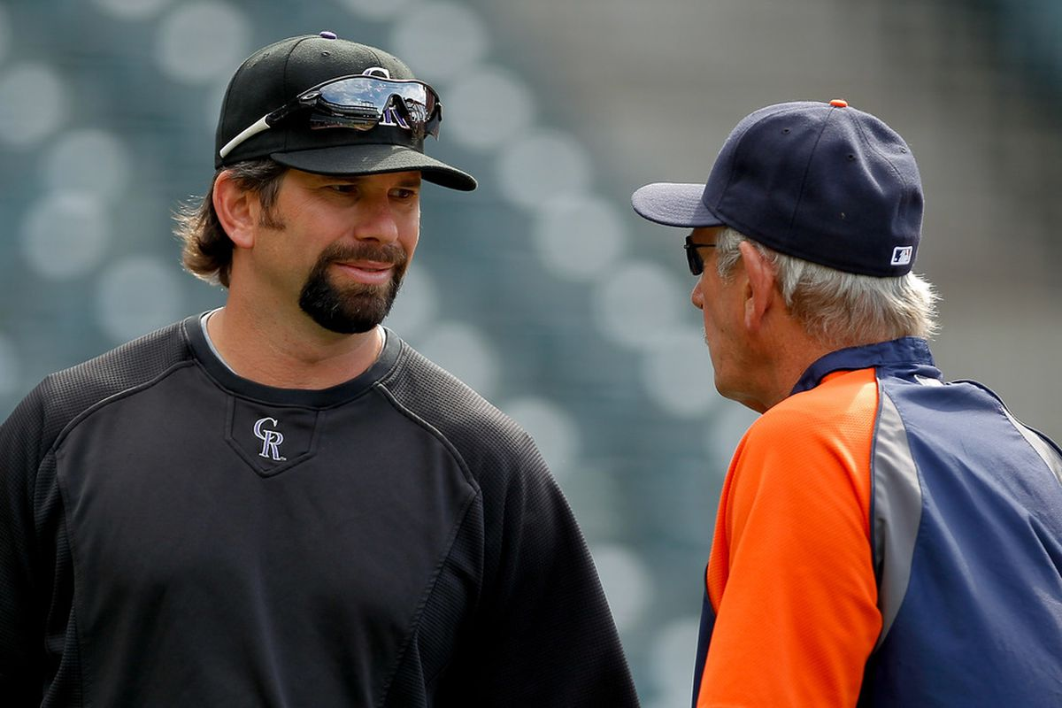 DENVER, CO - JUNE 18:  Todd Helton #17 of the Colorado Rockies talks with Manager Jim Leyland of the Detroit Tigers before the game at Coors Field on June 18, 2011 in Denver, Colorado.  (Photo by Justin Edmonds/Getty Images)
