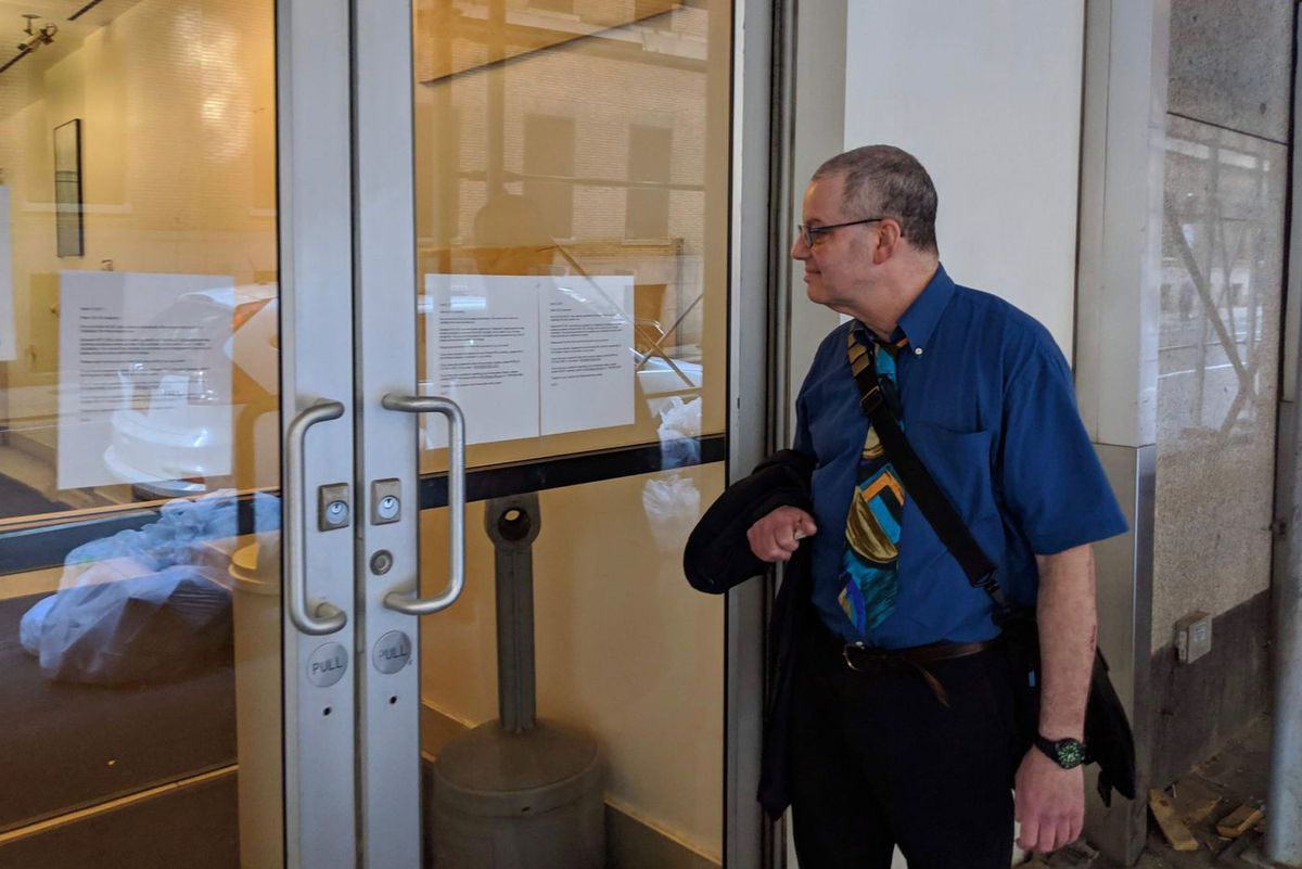 Former ALCC teacher Jeff Serkin, 58, visited the closed school on West 36th Street on Wednesday, April 10, 2019, to attempt to speak with ALCC executives Jean and Peter Pachter.