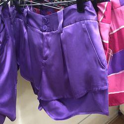 Purple satin shorts, $59 (were $187)