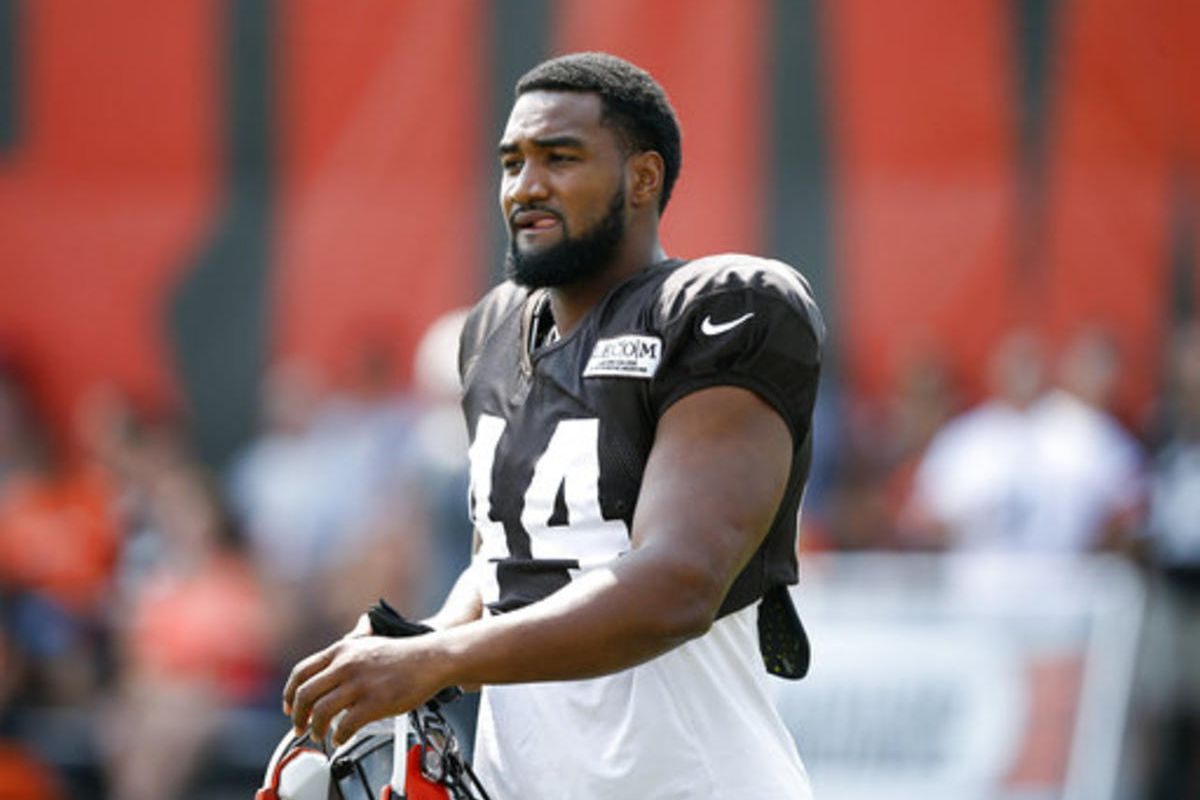 Cleveland Browns defensive end Nate Orchard takes the field for practice during NFL football training camp Tuesday, Aug. 14, 2018, in Berea, Ohio.