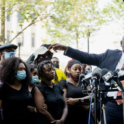 Attorney Ben Crump, who is representing the Blake family, speaks during a press conference Tuesday afternoon, Aug. 25, 2020. Police shot Blake at least seven times in the back Sunday as he was breaking up a fight, according to his attorneys.