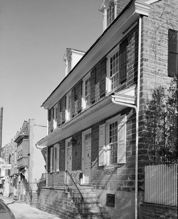 The exterior of the Michael Billmeyer House in Philadelphia. This is an old black and white photograph.