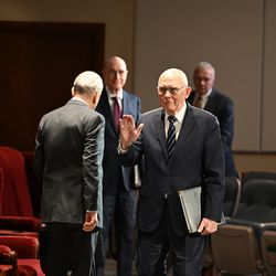 President Dallin H. Oaks, first counselor in the First Presidency of The Church of Jesus Christ of Latter-day Saints, waves before the start of the Sunday morning session of the 190th Annual General Conference, televised from the Church Office Building in Salt Lake City on Sunday, April 5, 2020.