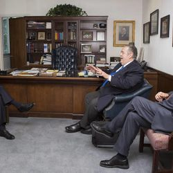 BYU President Cecil Samuelson, left, meets with Richard Land and Brent Top, BYU dean of religious education, on Sept. 6.