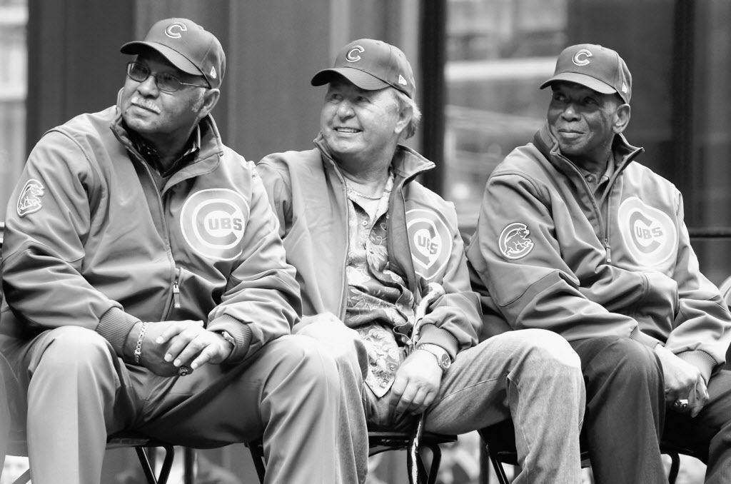 Former Cub players Billy Williams, Ron Santo and Ernie Banks watch video highlights of the Cubs seasonduring a rally at the Daley Center in 2008.   Brian Jackson/Sun-Times library