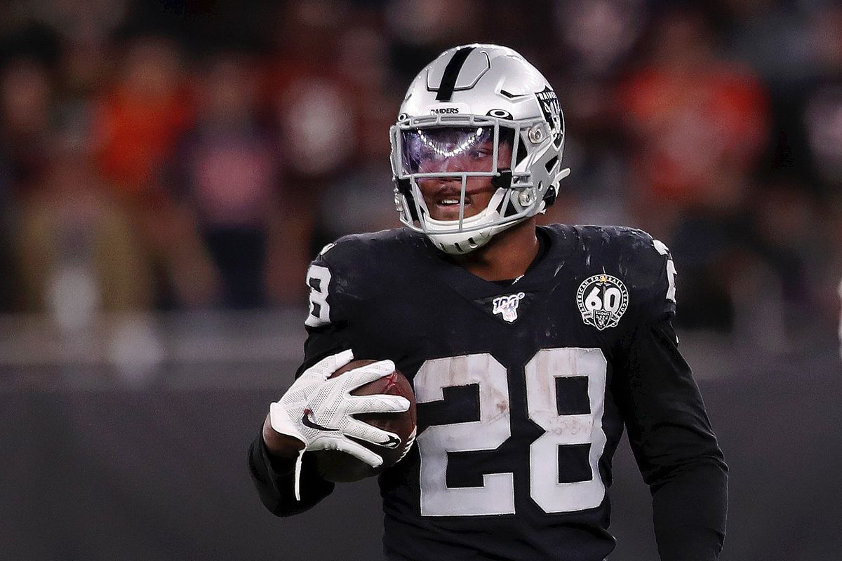 Josh Jacobs of Oakland Raiders looks on during the game between Chicago Bears and Oakland Raiders at Tottenham Hotspur Stadium on October 06, 2019 in London, England.