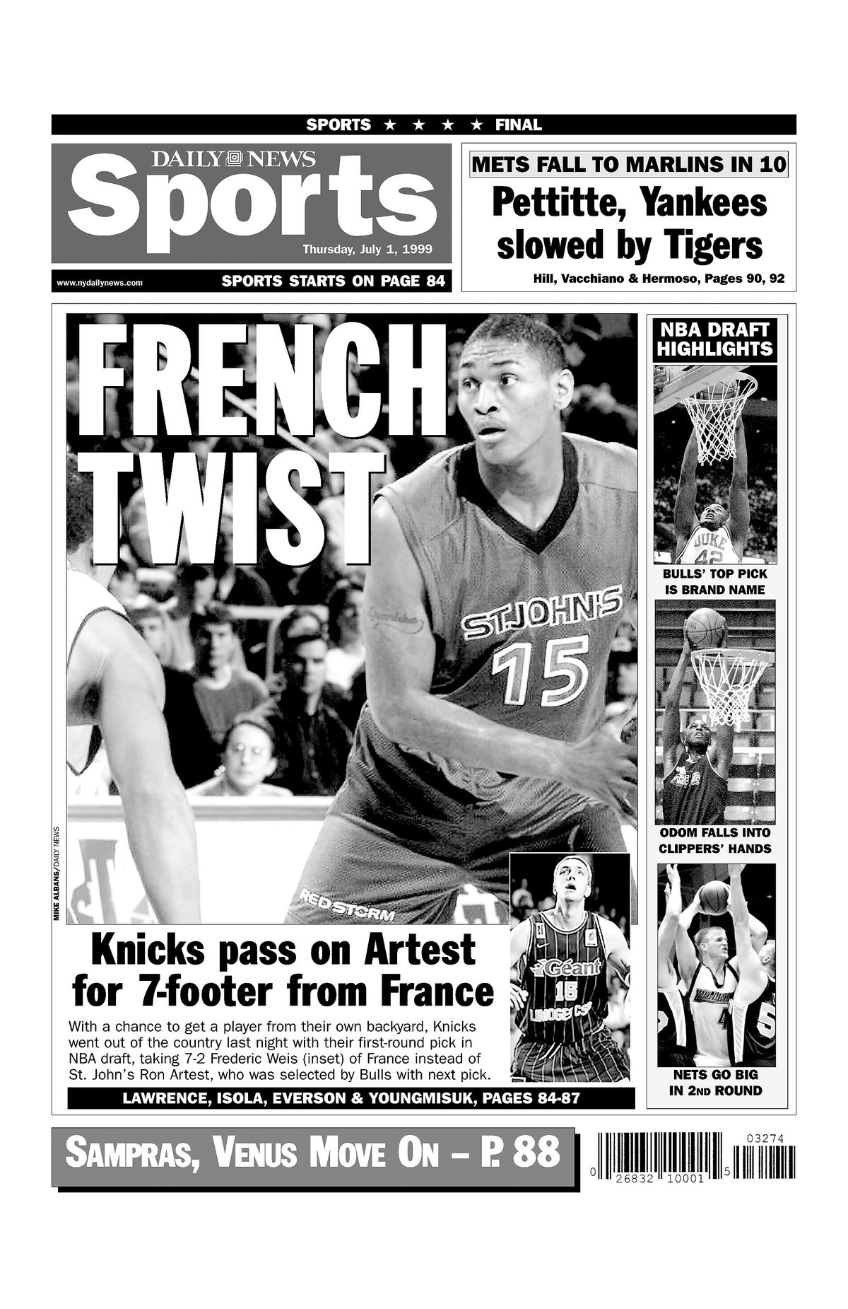 Daily News back page dated July 1, 1999., FRENCH TWIST, Knic