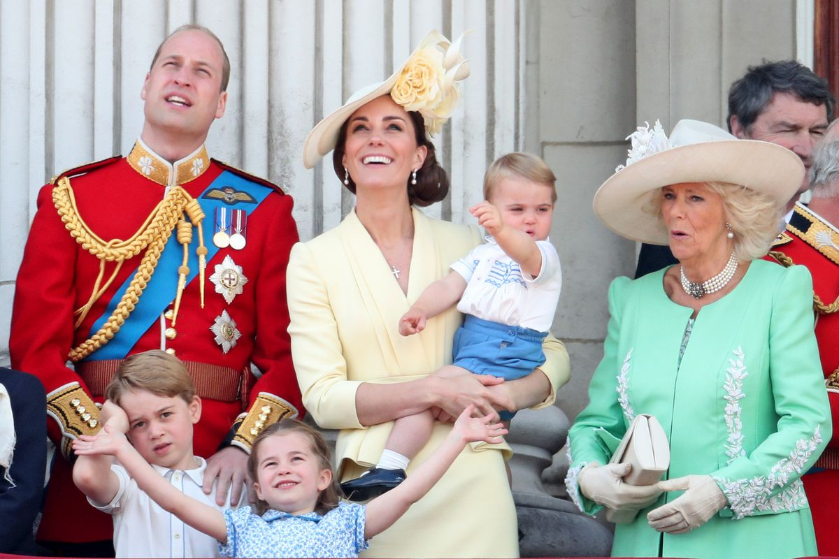 Prince Louis, Prince George, Prince William, Duke of Cambridge, Princess Charlotte, Catherine, Duchess of Cambridge and Camilla, Duchess of Cornwall during Trooping The Colour, the Queen's annual birthday parade, on June 08, 2019 in London, England.