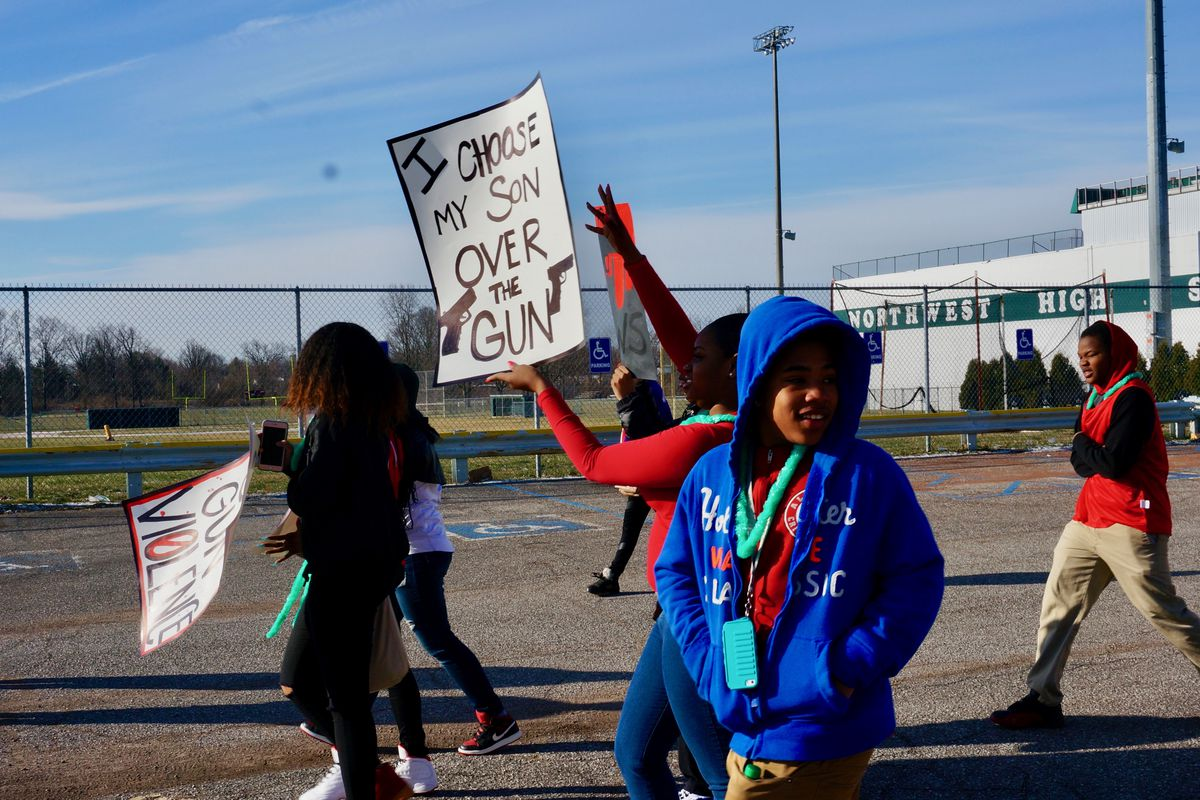 Students in Indianapolis participate in the National School Walkout on March 14. This Saturday, students in the Memphis area will join a related March for Our Lives.