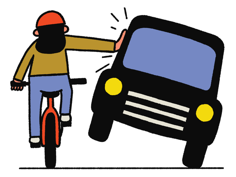 A person rides a red bicycle while pushing aside a black automobile. This is an illustration.