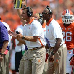 Clemson head coach Dabo Swinney reacts during an NCAA college football game against Ball State Saturday, Sept. 8, 2012 at Memorial Stadium in Clemson S.C. Clemson won 52-27.
