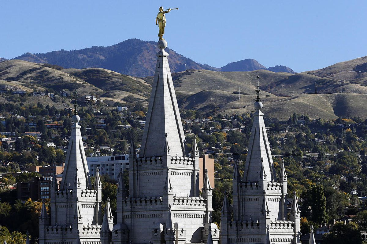 The Salt Lake Temple and Angel Moroni in Salt Lake City.