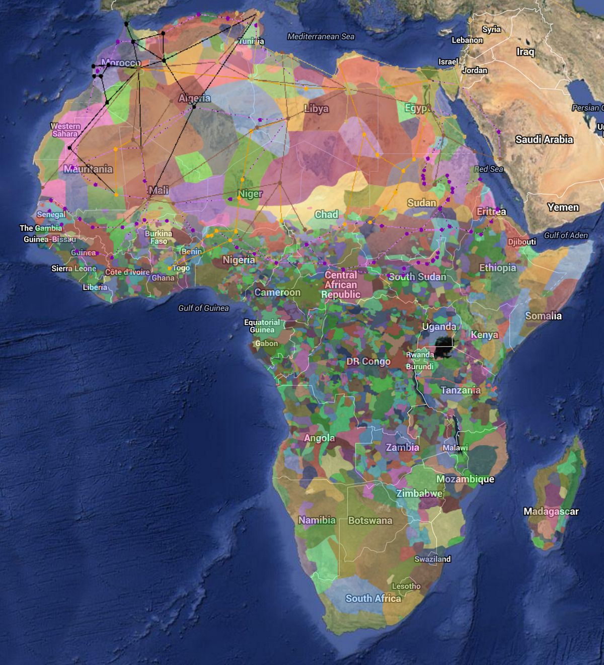 A fascinating color coded map of africas diversity vox harvard university peoples atlas of africa ed marc leo felix gumiabroncs Image collections
