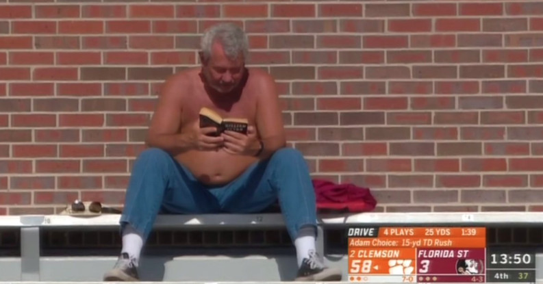 Shirtless FSU Book Guy meme: even better once you see what