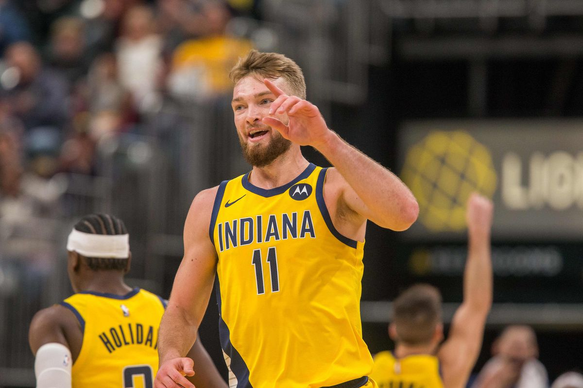 Indiana Pacers forward Domantas Sabonis celebrates after a basket in the first half against the Sacramento Kings at Bankers Life Fieldhouse.