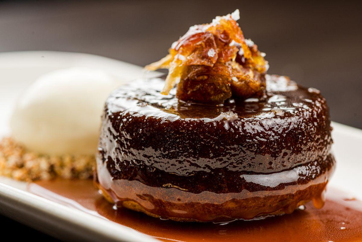 Date cake, butterscotch, walnut, crème fraîche ice cream