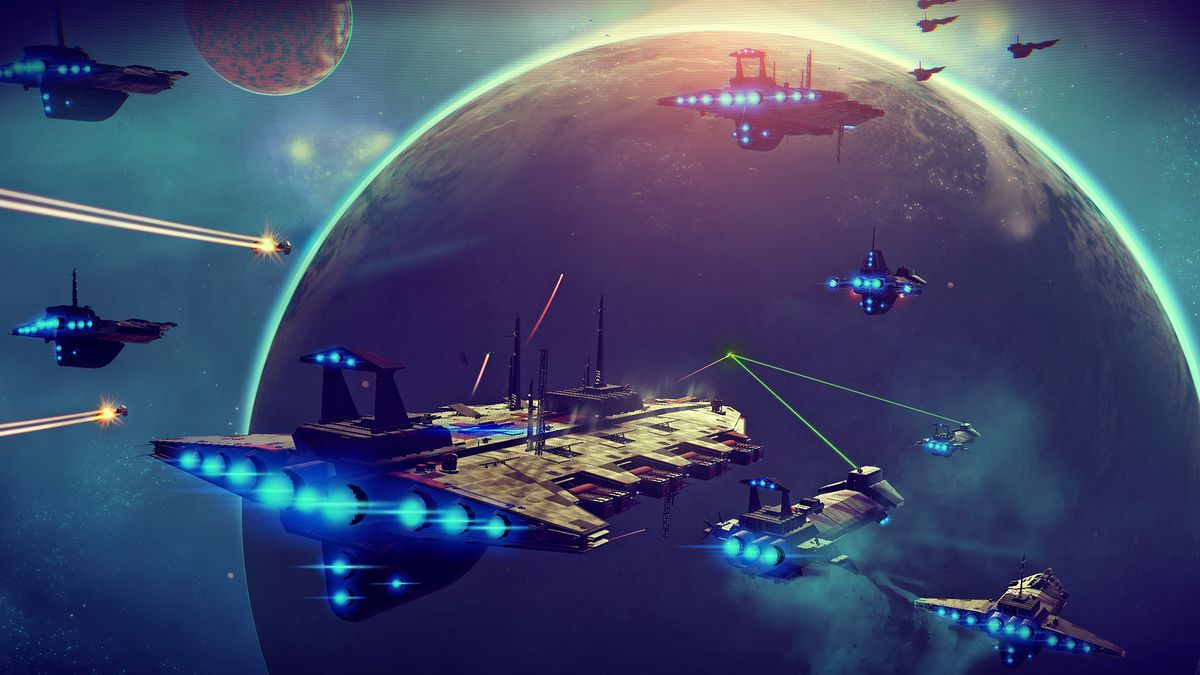 No Man's Sky - planes near a group of freighters hovering above a planet