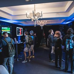 """Game on! Guests enjoyed vintage arcade classics curated by<a href=""""https://www.facebook.com/polygon/"""">Polygon</a>in the<a href=""""https://www.facebook.com/nest/"""">Nest</a>Speakeasy arcade."""