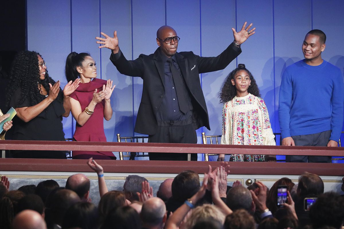 Dave Chappelle acknowledges the crowd at the Mark Twain Prize for American Humor on Sunday at the Kennedy Center